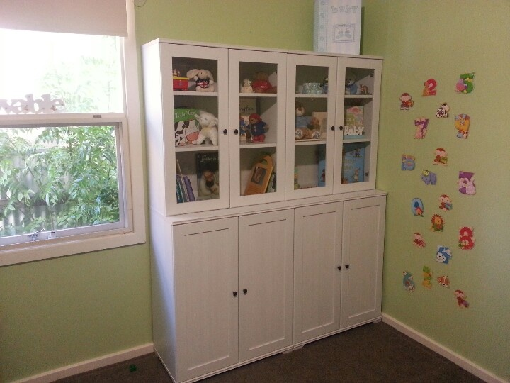 Ikea Shelves In Green Nursery Keepsakes Gl Toy Storage Bottom Cupboards With Baskets Matching Desk For When He Is Older