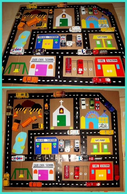 Car play mat idea - could make to fit on top of one of IKEA cabinets