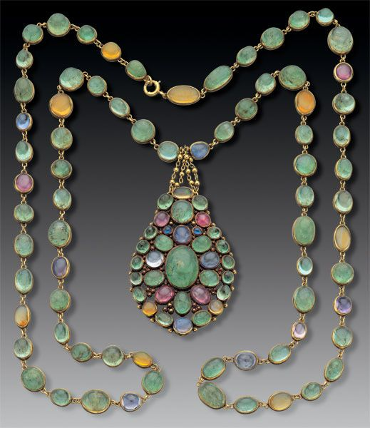 Necklace | Tiffany & Co. ca 1900. Gold, emeralds, sapphires and fire opals.