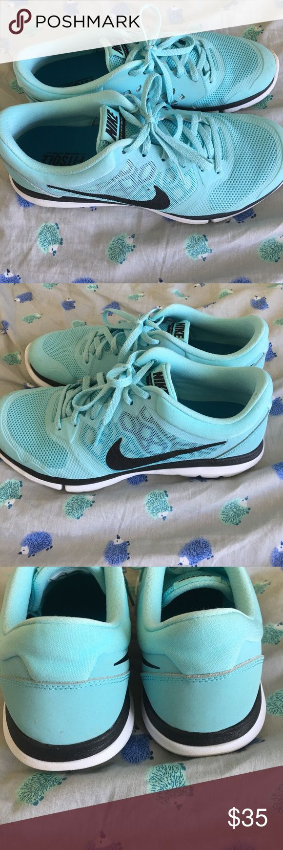 Tiffany Blue Nike Flex Run 9 Tiffany blue Nike Flex run shoes in good condition with a few marks which will definitely come out in the wash. Size 9 women's with fit sole lining. Very comfortable. Nike Shoes Sneakers