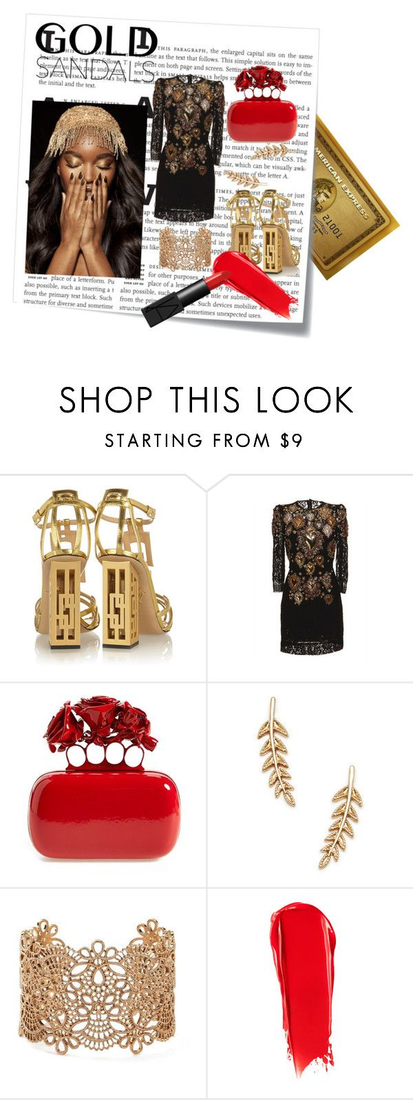 Golden age #2 by hacii on Polyvore featuring moda, Dolce&Gabbana, Charlotte Olympia, Alexander McQueen, Forever 21, Sole Society, NARS Cosmetics, Post-It, goldsandals and beoriginal