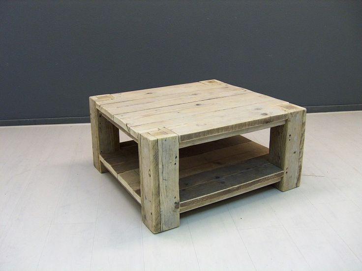 Salontafel van oud gebruikt steigerhout met extra schap (3052013) | TV meubels & Salontafels | JORG`S Houten Meubelen