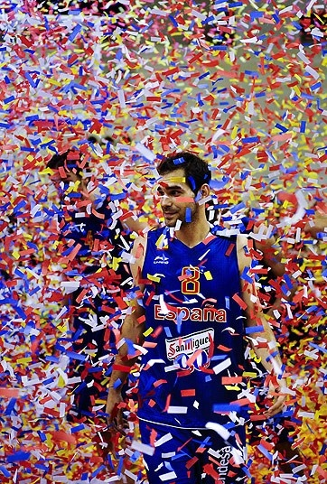 London 2012 Olympics: in pictures July 25 - Ticker tape: Jose Manuel Calderon of the Spainish basketball team looks toward the sideline at the end of a exhibition game between US and Spain at Palau Sant Jordi in Barcelona  Picture: GETTY IMAGES
