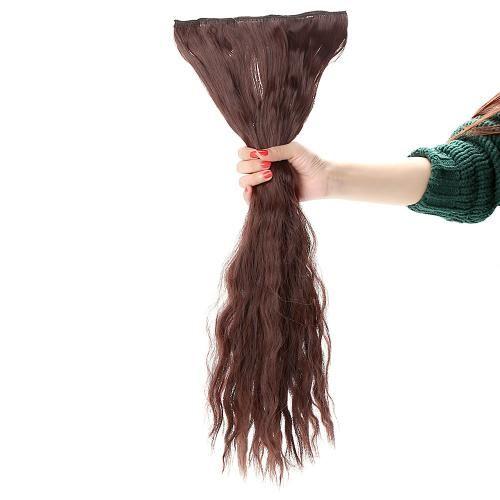 24'' 60cm lange locken Erweiterung Mais Frauen winken Haare 5 Clips in Haarverlängerungen