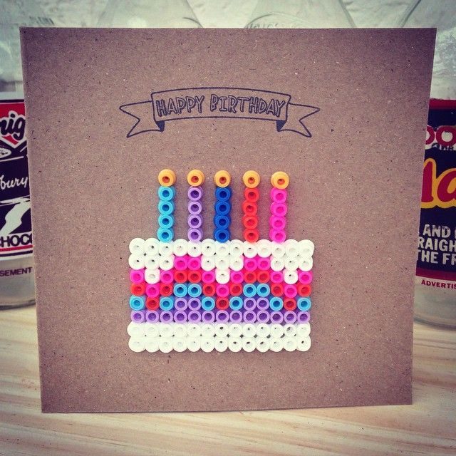 Happy Birthday hama perler bead card by Make & The Craft Kitchen