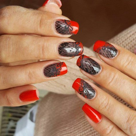 cute red nail art