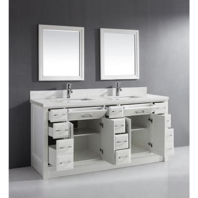 Studio Bathe Calais 75 In W X 22 In D Vanity In White