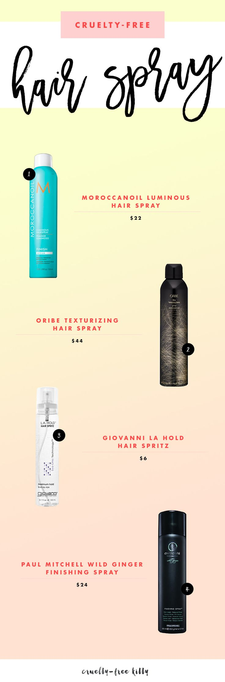 Some great cruelty-free hairspray options! #crueltyfree