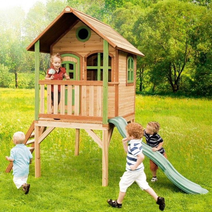 Kids Outdoor Playhouse Garden Play Backyard Wooden Activity Cabin Slide Ladder #KidsOutdoorPlayhouse