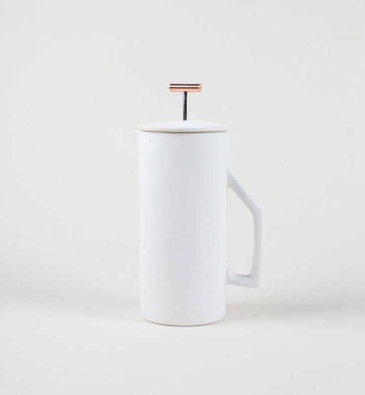 Yield! Honestly everything on their sitewould look amazing in this collection, but I chose the french press as it is a justifiable necessity... So simple, clean and reminiscent of my favorite... Scandinavian mid century design but with an updated look. It's perfect in white or their alternate color, a mid tone gray.