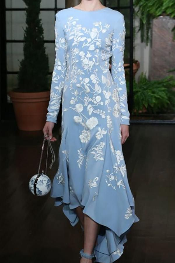 Fashion Round Neck Floral Pattern Printed Irregular Maxi Dress