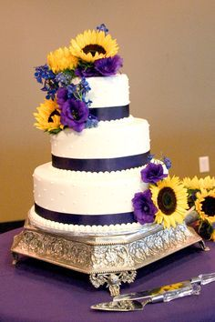sunflower wedding cakes with purple - Google Search