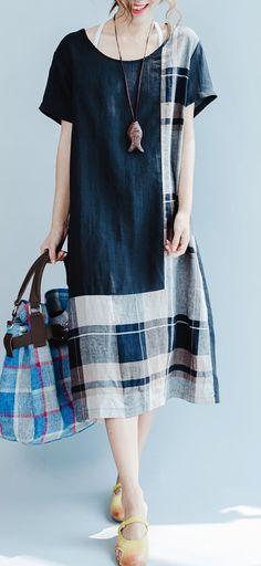 ORIGINAL BLACK LINEN SUMMER DRESS PATCHWORK MAXI DRESS SHORT SLEEVE STYLISH SUND…