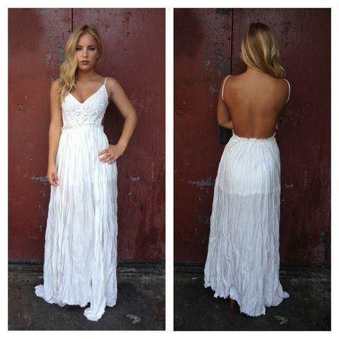 White Crochet Backless Maxi Dress