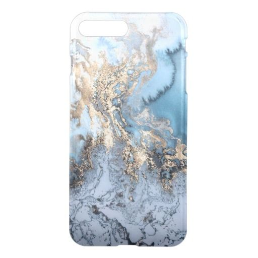 Marble Golden Blue Abstract iPhone7 plus Case | Zazzle.com