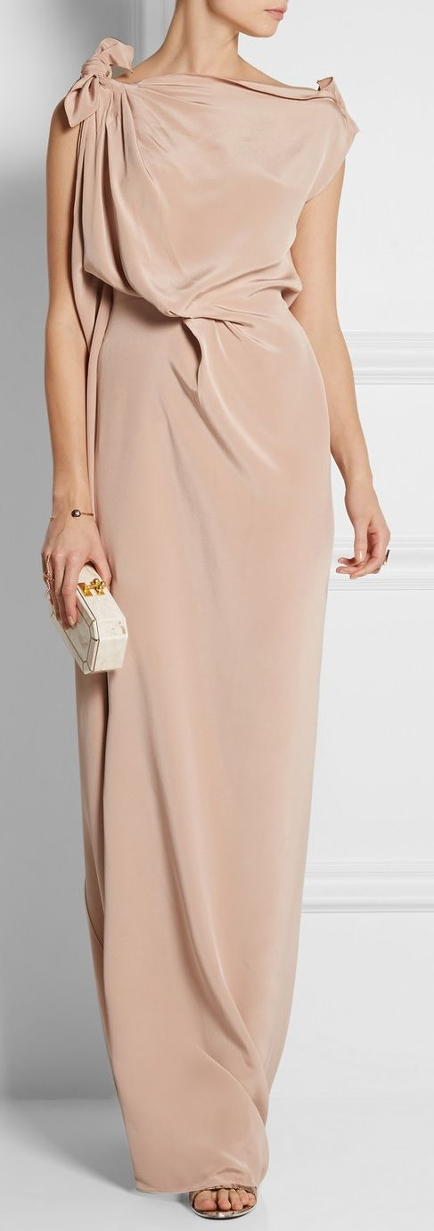 ROLAND MOURET Silvabella draped silk-satin gown