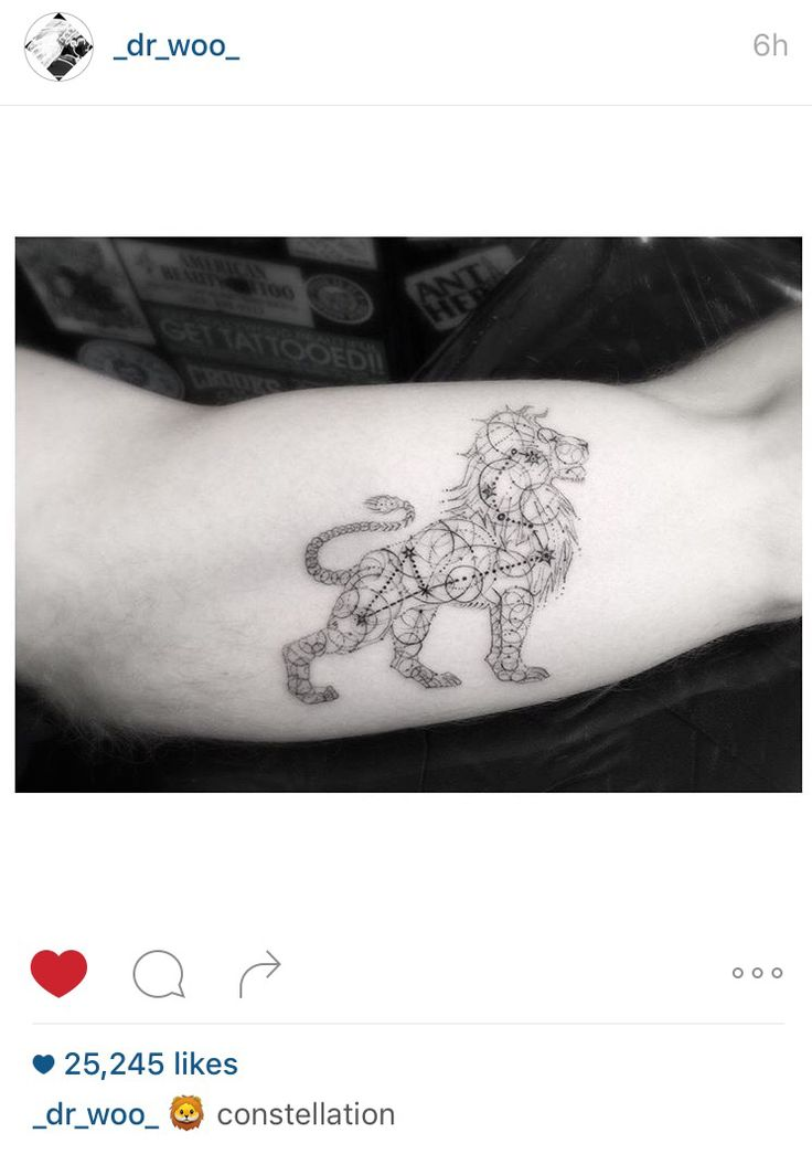 Dr. Woo. Lion Leo constellation tattoo                                                                                                                                                      More