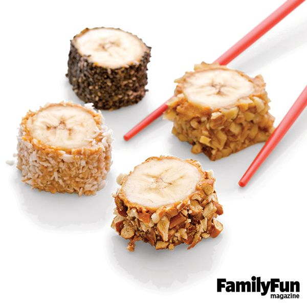 Banana Sushi: Packed with fiber and heart-healthy potassium, these one-bite treats lend themselves to tasty customization.