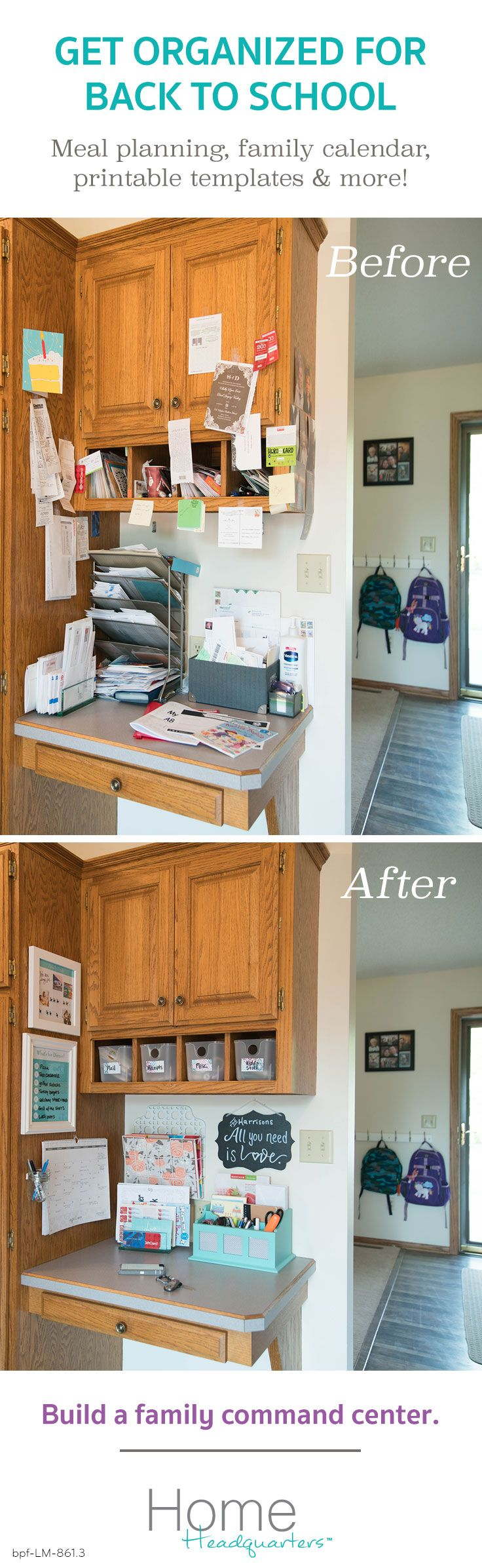 Turn that pile of papers, mail & post-it notes into an organized system.  Build a family Home Headquarters to save time, stress & money.  We'll show you how!