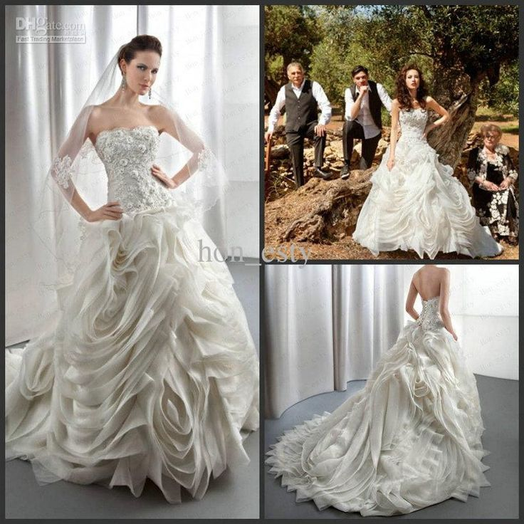 Wholesale Demetrios Wedding Dresses : Wholesale wedding gowns organza strapless lace appliques beaded