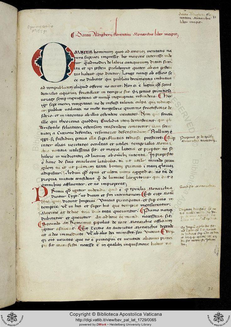Pal. lat. 1729: Pal. lat. 1729 Francesco Petrarca; Dante Alighieri: Bucolicum carmen ; Monarchia ; Epistolae (Perugia, um1394)