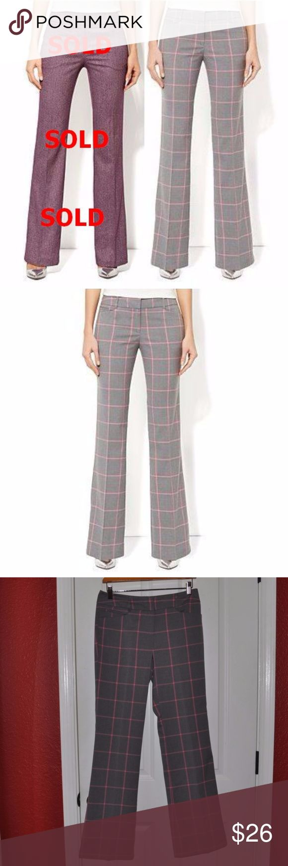 New York & Company Gray Plaid 7th Avenue Pants A1 size 2 waist 29 hips 36 rise 8 1/2 inseam 31 1/2  windowpane plaid (gray/pink) SOLD OUT herringbone (purple)  modern fit boot cut Sits just below waist. Slimming through hip and thigh Zip front with hook-and-bar closure Belt loops Front pockets Back welt pockets  condition: excellent @cjrose25  Trouser Dress Pants Slacks Career Suit Separate Business Attire Work Office Secretary Administrative Admin New York & Company Pants Boot Cut & Flare