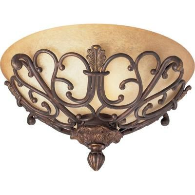 Thomasville Lighting Messina Collection Aged Mahogany Flush At The Home  Depot