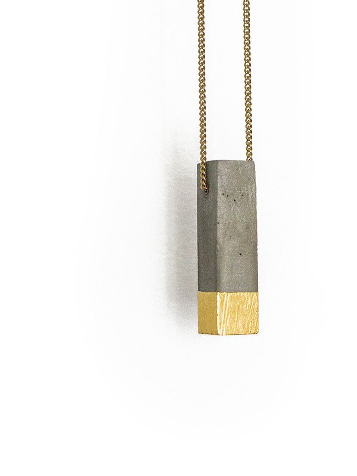 Concrete and Gold Leaf Necklace