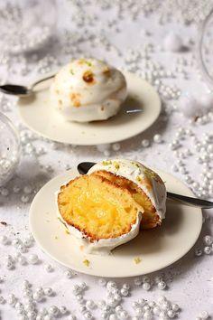 Boule de neige au citron - Gâteau au yaourt individuel fourré de lemon curd et recouvert de meringue