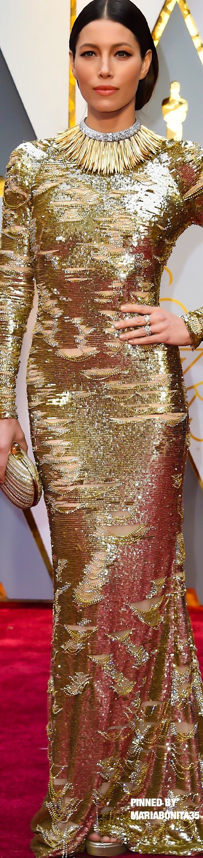 2017 Oscar Awards Red Carpet Jessica Biel gown Kaufman Franco Tiffany & Co Jewels