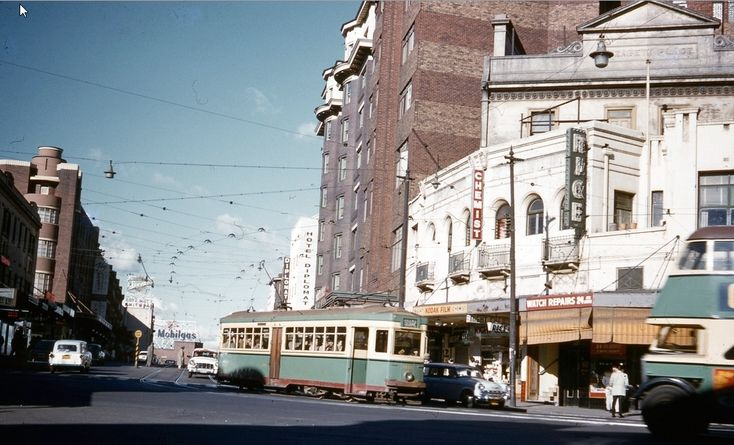 Tram turning from Bayswater Road, Kings Cross 1960.