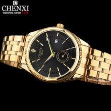 CHENXI Золотые Часы Мужские Часы Лучший Бренд Класса Люкс Известный Наручные Часы Мужской Часы Золотые Кварцевые Наручные Часы Календарь Relogio Masculino(China (Mainland))