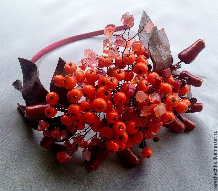 """Купить """"Рябиновый коктейль"""" Ободок для волос - оранжевый, красный, Рябина, шиповник, осень, осеннее украшение"""