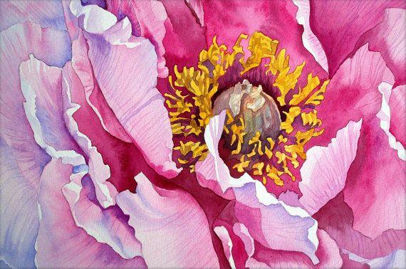 Peonía, Art Print de mi pintura original de peonía, pintura de la flor, peonía rosa, peonía acuarela, flor flores, acuarela, EsperoArt.