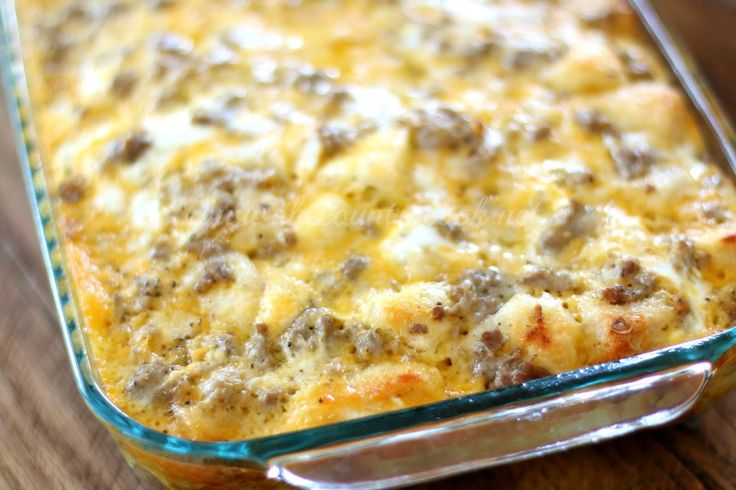 Sausage Egg Cheese Biscuit Casserole is the ultimate breakfast! It's so simple to make and can be made in advance. So good!