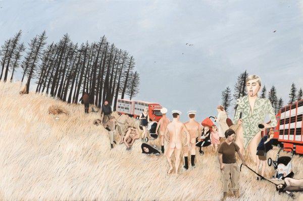 Nanne Meulendijks Seven works of mercy, To ransom the captive, acrylics on canvas 80 x 120 cm july 2014