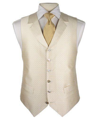 Gold cravat and ivory/white gold coloured waistcoat - for wedding suits with navy morning suit.