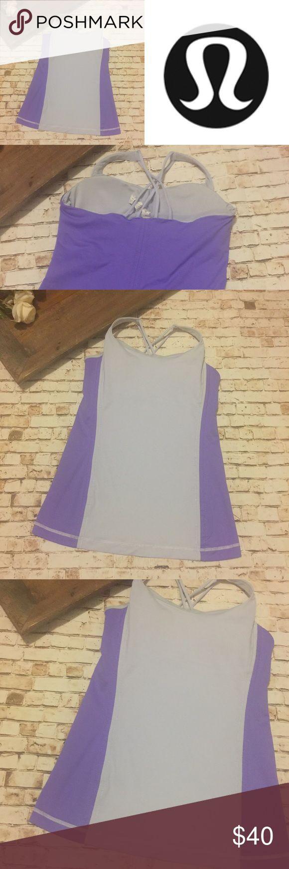 Lululemon purple gray strappy tank top Shelf bra. Strappy back. Padded cups. lululemon athletica Tops Tank Tops