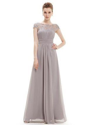 Ever-Pretty ドレス-ロング グレーレース袖付きロングドレス☆半袖ロングドレス、発表会(2)