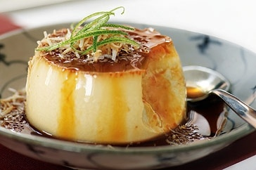 Dessert tonight, This Vietnamese version of creme caramel features the exotic flavours of coconut and lime.