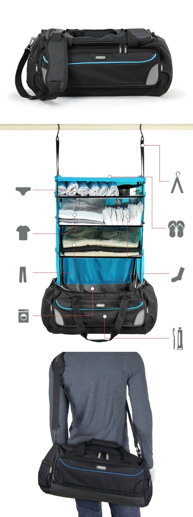 Travelling has never been easier than with the patent pending Rise Gear Weekender collapsible shelving system which keeps your clothes folded and organized.