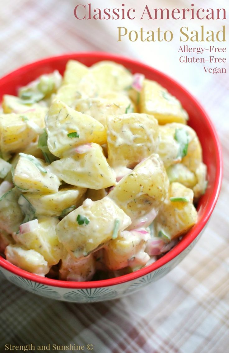 An essential to any summer bbq or cookout! The Classic American Potato Salad, now as an easy gluten-free, vegan, & top 8 allergy-free recipe!