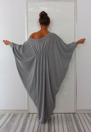 Grey maxi abaya dress / soft elastic cotton spring dress