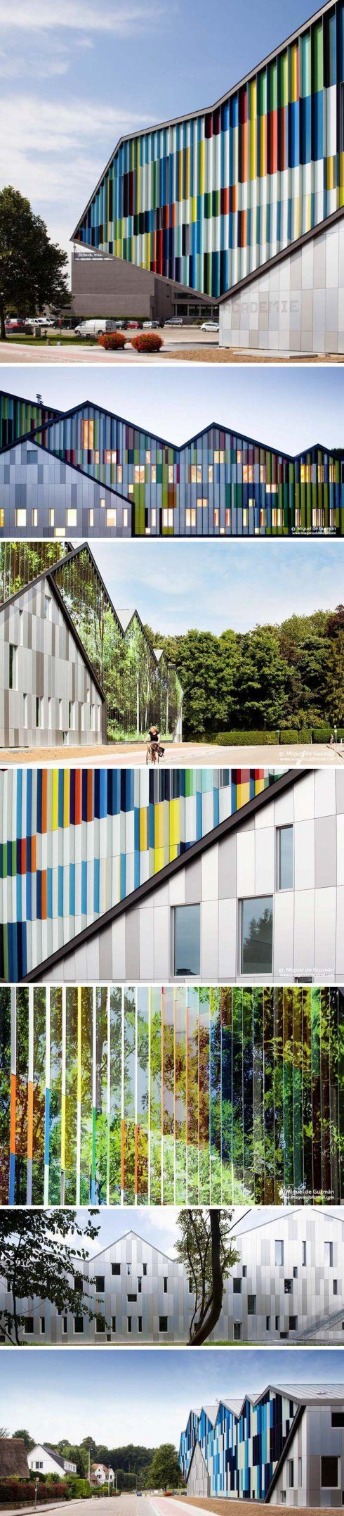 Academie MWD Dilbeek, Belgium, Music, Dance, & Theater Academy designed by Carlos Arroyo. Cool optical illusion facade.