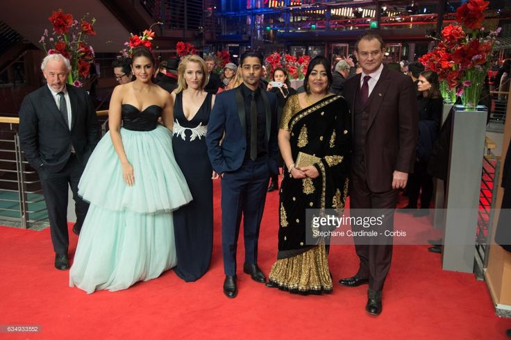 Actor Simon Callow,actress Huma Qureshi,actress Gillian Anderson,actor Manish Dayal, film director Gurinder Chadha and actor Hugh Bonneville attend the 'Viceroy's House' premiere during the 67th Berlinale International Film Festival Berlin at Berlinale Palace on February 12, 2017 in Berlin, Germany.