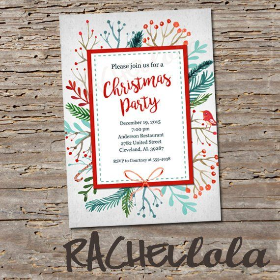 Christmas Party Invitation Printable Floral Frame With Bird