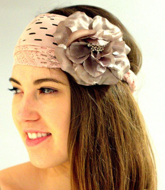 Baby pink lace Head Wrap with a taupe flower  Women's Headband, Hair Wrap, Head Wrap with Elastic Back for Women in rose.