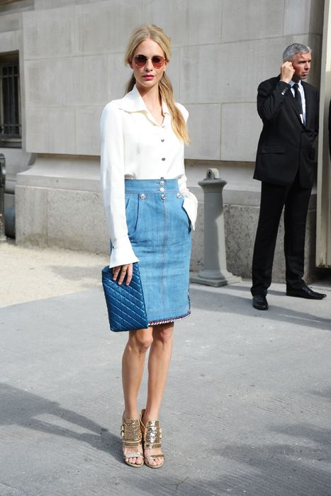 Poppy Delevingne Denim Skirt and Givenchy Heels | Street Style