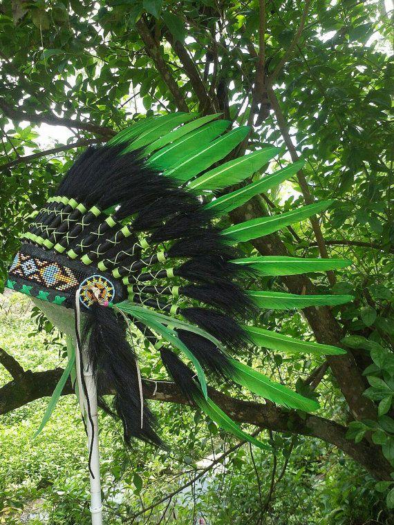 Green Native American Headdress Indian by TheLandOfCockaigne