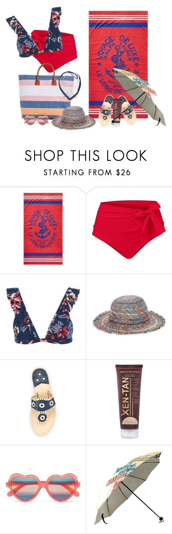"""Untitled #3086"" by diananicoleparsons ❤ liked on Polyvore featuring Ralph Lauren Home, Venus, Tori Praver Swimwear, Echo, Jack Rogers, Xen-Tan, Cutler and Gross and Rebecca Minkoff"